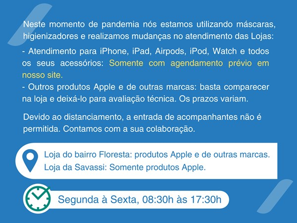 Tecnosys Autorizada Apple Horario de Atendimento Pandemia